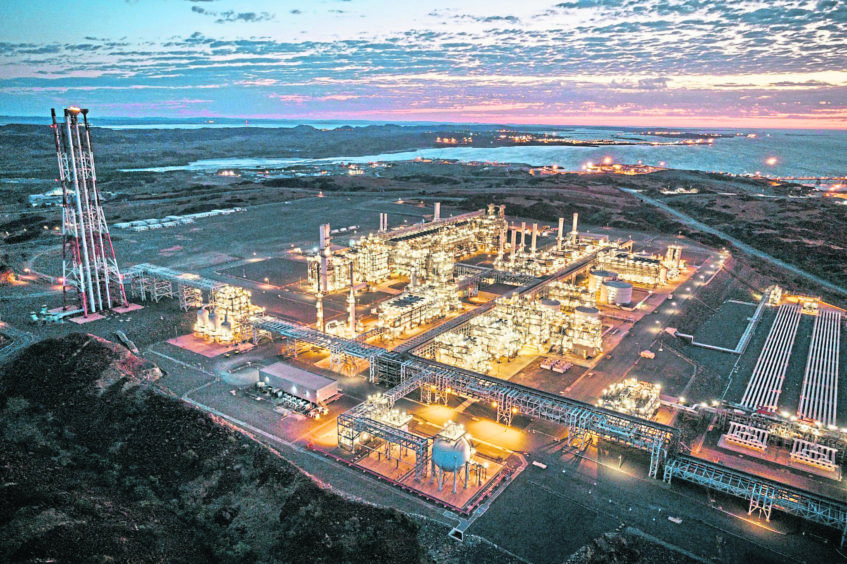The Pluto LNG plant, which would receive production from the Scarborough project.  Image courtesy of Woodside Energy