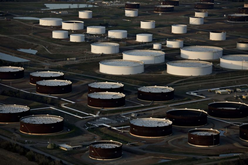 Oil storage tanks in Cushing, Oklahoma. Photographer: Daniel Acker/Bloomberg