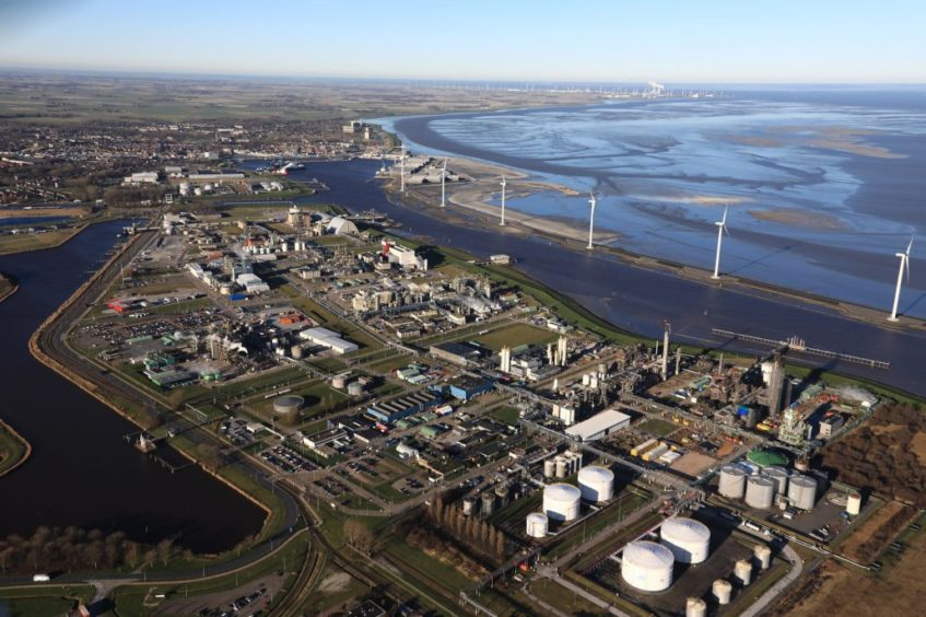 The NortH2 project involves a large electrolyser in Eemshaven, pictured. Photo courtesy of Groningen Seaports.