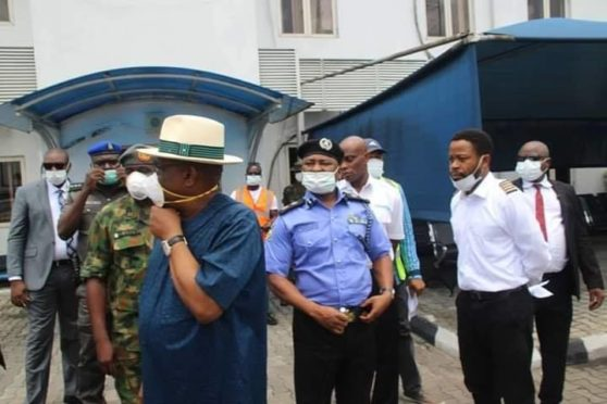 Governor Nyesom Wike oversees the arrest of Caverton pilots in Port Harcourt