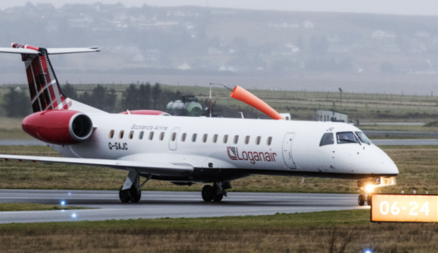 A Loganair-operated Embraer 145