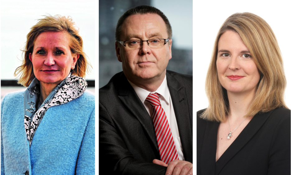 Deirdre Michie of Oil and Gas UK, Jake Molloy of RMT and Claire Scott of Pinsent Masons.