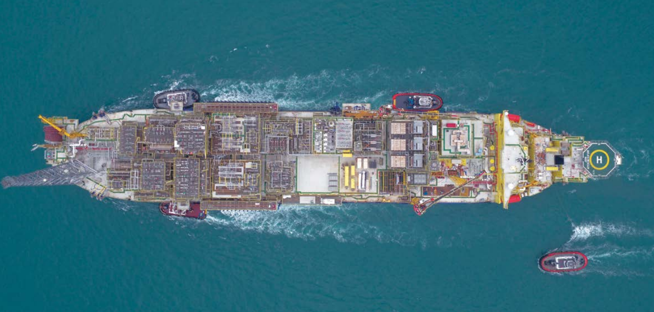 Top down view of FPSO in blue waters