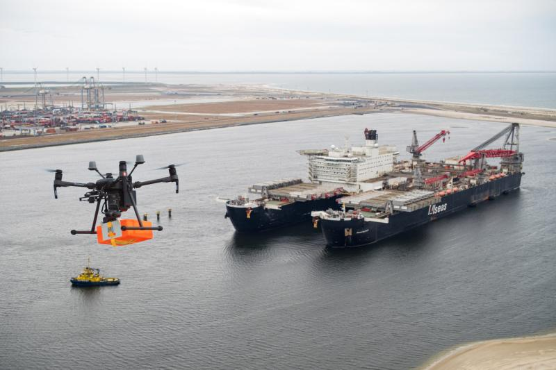 WATCH: Drone delivers package to world's largest construction vessel