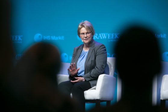 Vicki Hollub speaks during the 2019 CERAWeek by IHS Markit conference in Houston. Photographer: F. Carter Smith/Bloomberg
