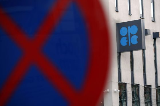 An OPEC sign hangs outside the OPEC Secretariat ahead of the the 177th Organization Of Petroleum Exporting Countries (OPEC) meeting in Vienna, Austria, on Wednesday, Dec. 4, 2019. Crude supplies from OPECs Middle East oil exporters, excluding Iran, fell to their lowest level since July, as the groups ministers gathered in Vienna to decide the next steps in their pact with a band of non-OPEC countries that aims to limit supply.