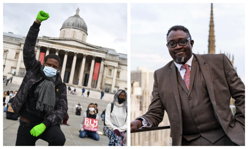 Right: Ollie Folayan, chairman of AFBE-UK Scotland. Left: A Black Lives Matters protest in London last week. Kirsty O'Connor/ PA Wire