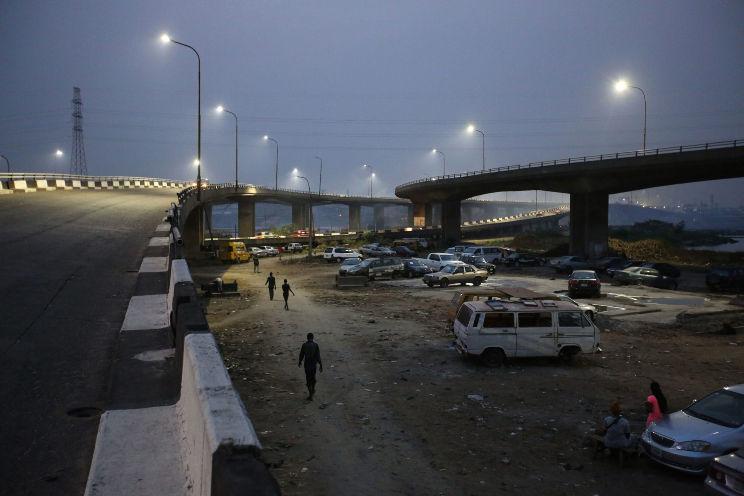 Night scene in Lagos with streetlights and roads