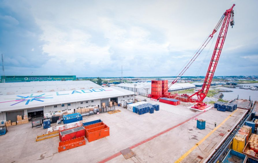 Mammoet has installed a heavy lift crane at the LADOL terminal, allowing it to target increasingly complex construction jobs in the region.