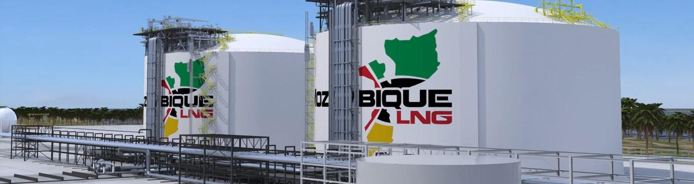 Storage tanks with Mozambique LNG logo