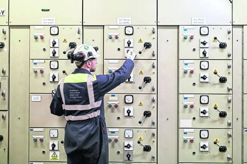 An employee working inside Cruachan power station