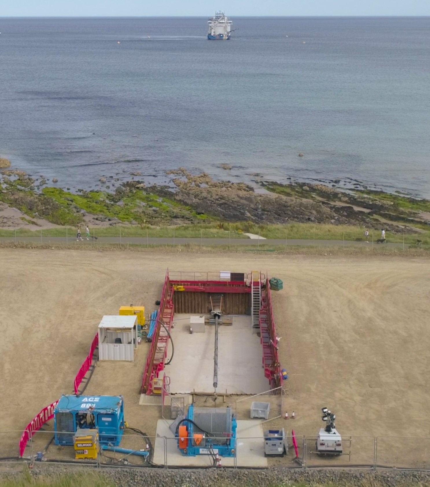 First export cable for Moray East offshore windfarm pulled onshore in Aberdeenshire