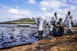 Mauritius oil spill clean up continues as liability is probed