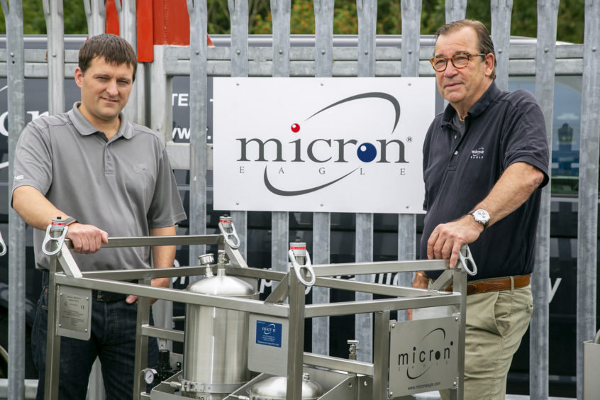 Ian Gibson. Left, has been appointed managing director at Micron Eagle, while company founder Andreas Nagel takes on the chairman role at the Aberdeenshire business.