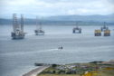 Oil rigs stacked in Cromarty Firth in May.