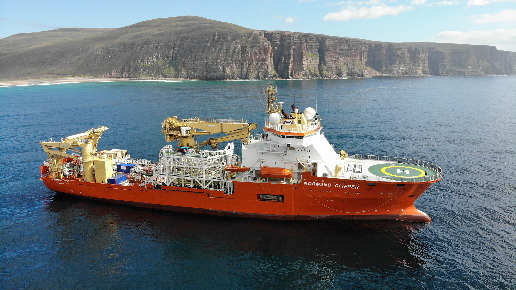 The Normand Clipper has been working in Rackwick Bay to install the new cable.