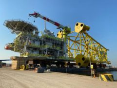 Picture: Tolmount platform loaded onto barge ahead of voyage to UK