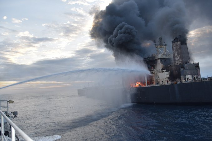 The New Diamond VLCC has caught fire offshore Sri Lanka, although there have not yet been reports of spills from its 2 million barrel cargo.