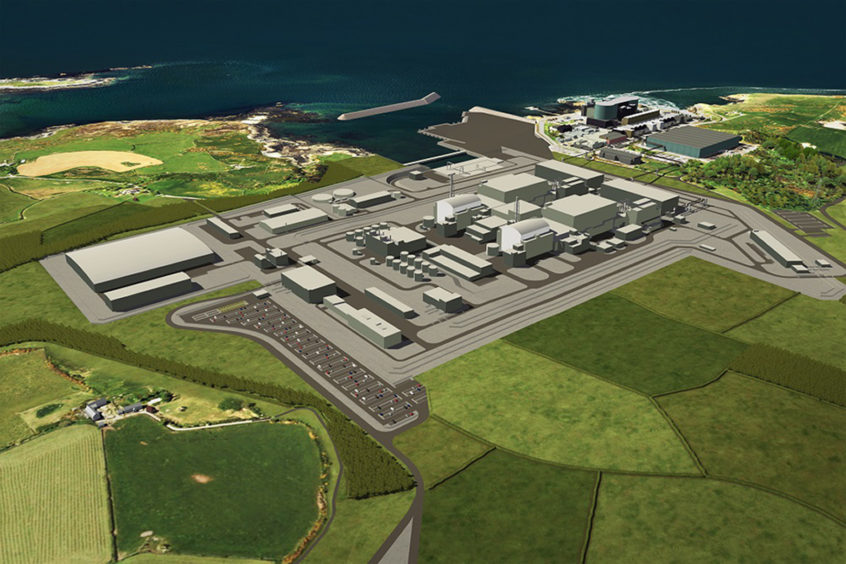 An artists impression of a planned nuclear power station at Wylfa on Anglesey in north Wales.