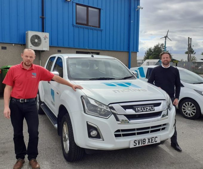 Motive Offshore chief operating officer James Gregg and global business development director Eddie Moore at the company's Kintore facility.