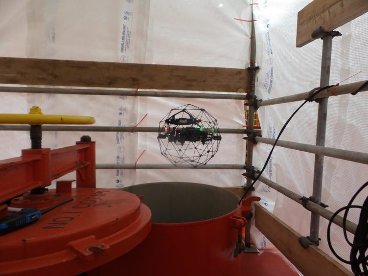 An unmanned aerial vehicle (UAV) used to inspect a vast oil storage tank on the Armada Kraken FPSO in July.