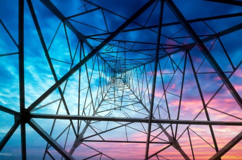 high voltage post.High-voltage tower sky background.; Shutterstock ID 113929936