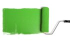Paint roller leaving stroke of green paint over a white background; Shutterstock ID 31771534