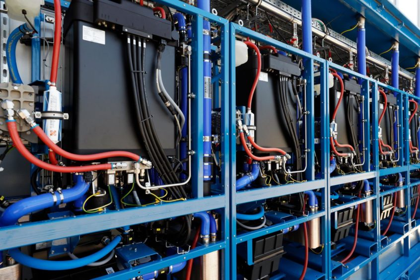A panel of fuel cells in the hydrogen power plant of APEX Energy company, in Laage, Mecklenburg-Western Pomerania, Germany, 14 August 2020.