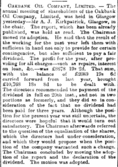 An early mention of Oakbank in the Aberdeen Journal, the precdecessor to the P&J, on May 14, 1896.