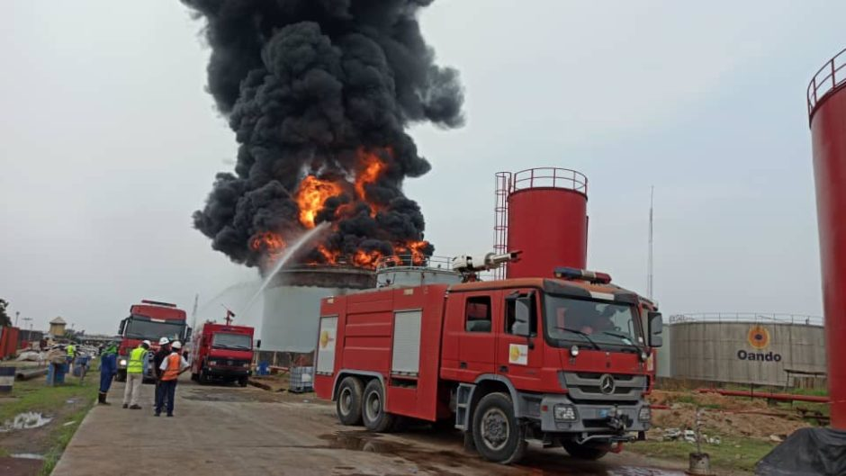 A fire has broken out at an Oando tank faciltiy in Lagos, Lasema has reported, with work under way to prevent the blaze from spreading.