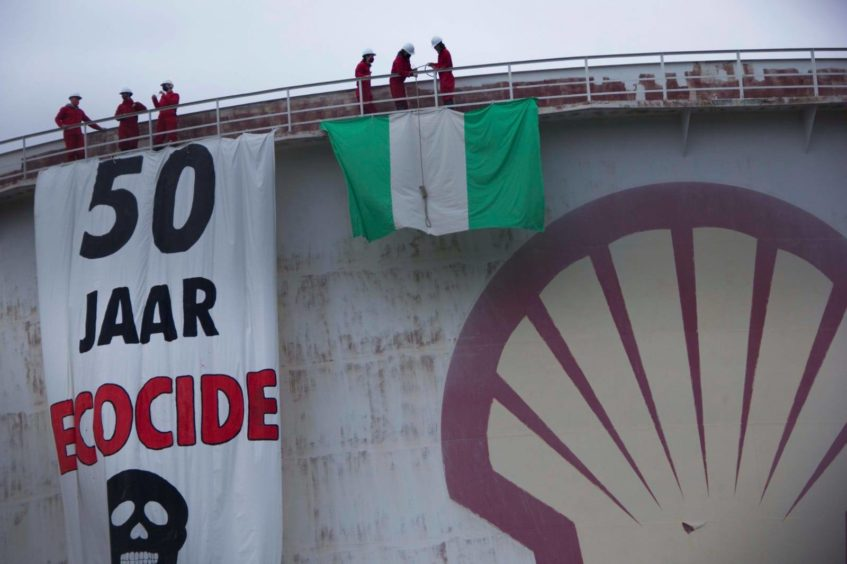 Protests have targeted Shell facilities in London and The Hague on the 25th anniversary of the killing of the Ogoni 9, in Nigeria.