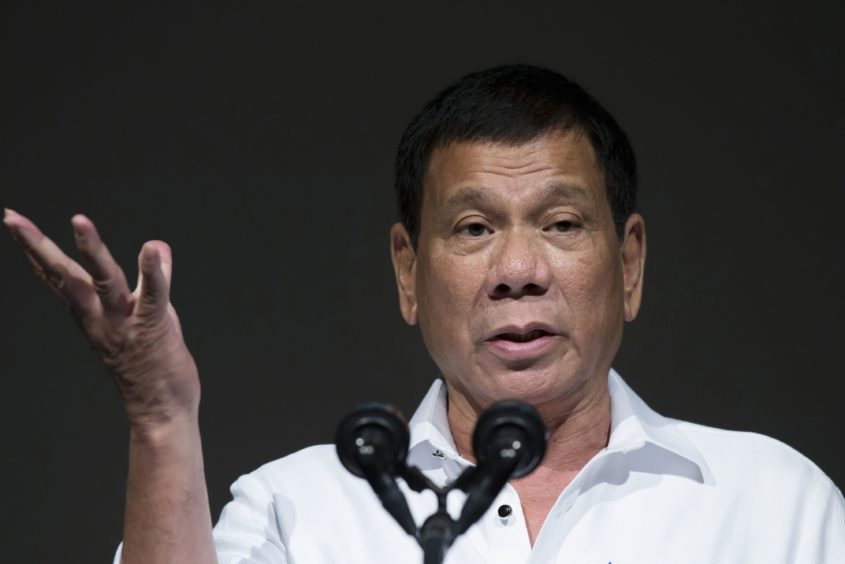 Rodrigo Duterte, the Philippines' president, speaks during the Philippine Economic Forum hosted by the Japan External Trade Organization (JETRO) in Tokyo, Japan, on Wednesday, Oct. 26, 2016.