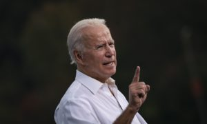 Joe Biden shakes a finger during a speech