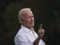 Joe Biden speaks during a drive-in campaign rally in the parking lot of Cellairis Ampitheatre on October 27, 2020 in Atlanta, Georgia.