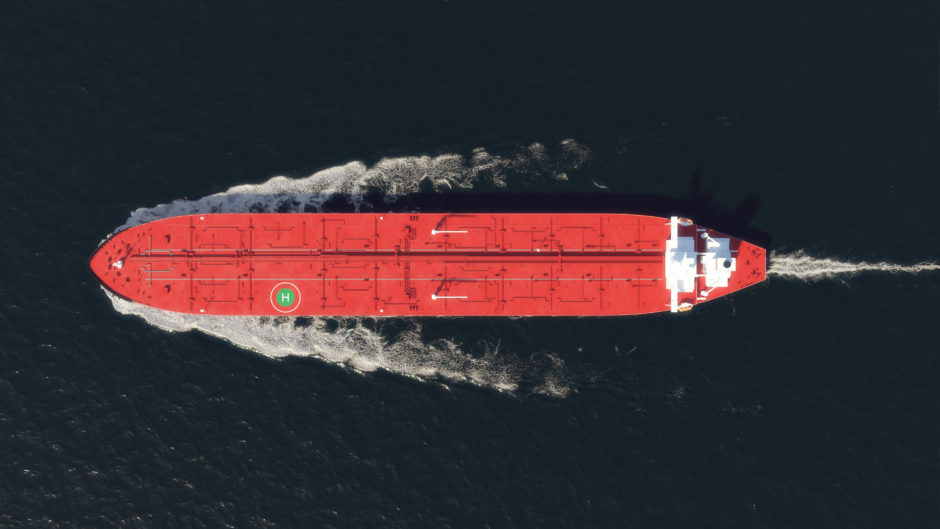 On the move: a red tanker