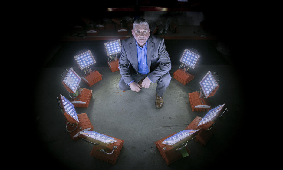 Scot Borland, managing director of Aberdeen-based BME, has high hopes for his industrial lighting products. (picture by Rory Raitt)