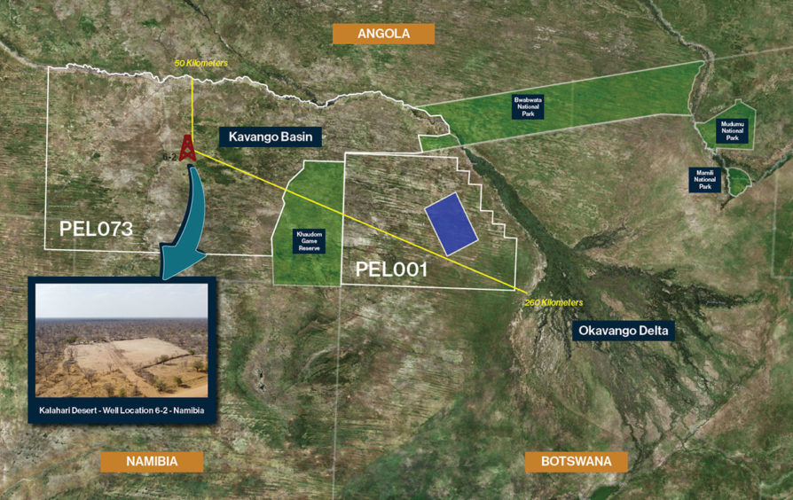 Map showing the Namibia-Botswana border