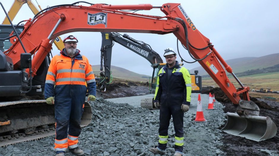 John Nicols of S Malcolmson Plant Ltd and Brian Allan of FLJ, two local companies working on the Viking project in Shetland.