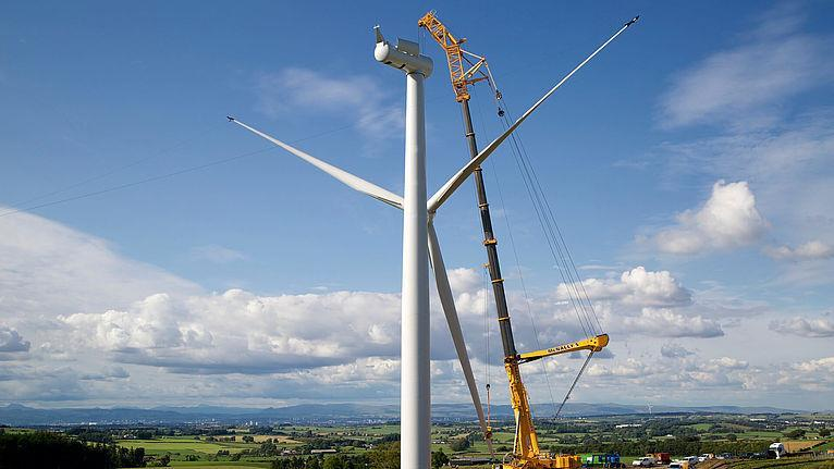 The Inverclyde wind farm being constructed.
