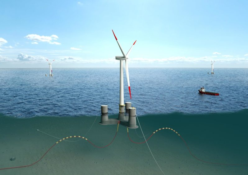 The OO-Star Wind Floater, developed by Dr.techn.Olav Olsen and owned by Floating Wind Solutions AS, which will be used for the Falck Renewables/BlueFloat Energy ScotWind application