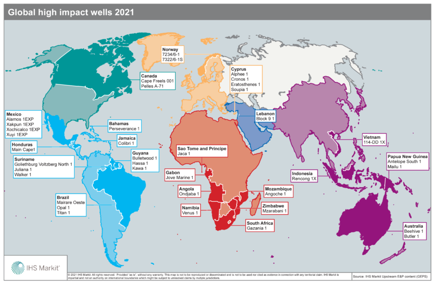 IHS Markit expects 38 high impact wells will be drilled in 2020, with Cyprus and Mexico leading the pack with four each.
