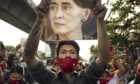 Protest at the Embassy of Myanmar in Bangkok as Military Take Power in Myanmar. Photographer: Andre Malerba/Bloomberg