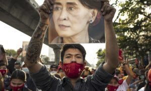 Protest at the Embassy of Myanmar in Bangkok as Military Take Power in Myanmar for One Year. Photographer: Andre Malerba/Bloomberg