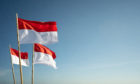 Indonesian flags flutter in the wind.