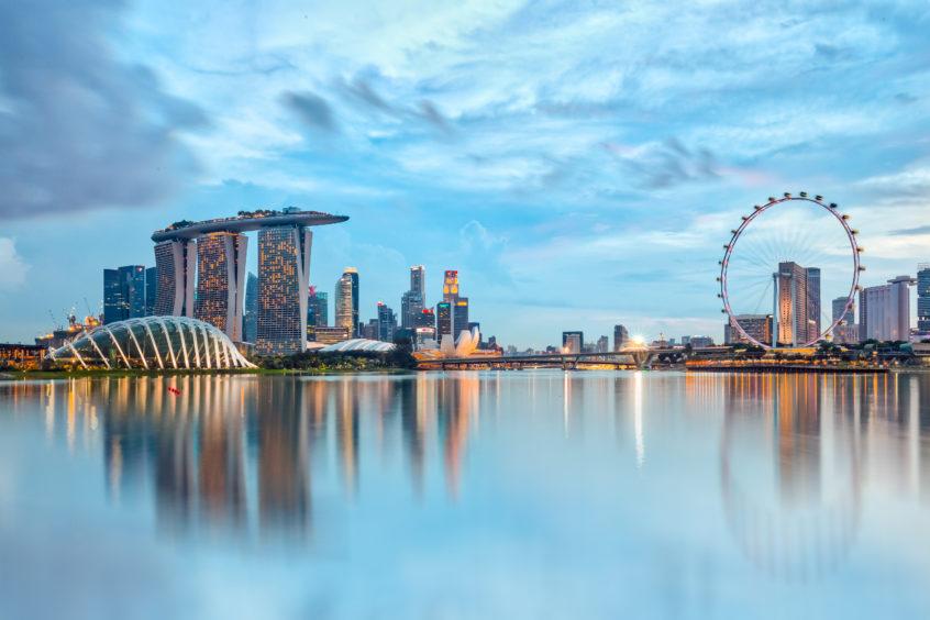 Singapore cityscape in Southeast Asia.