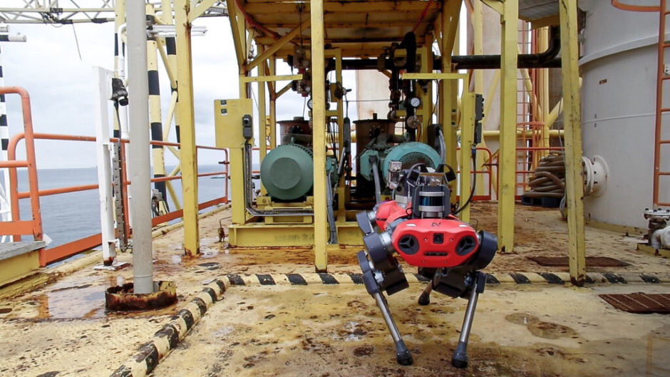 The ANYmal C four-legged dog-like robot offshore