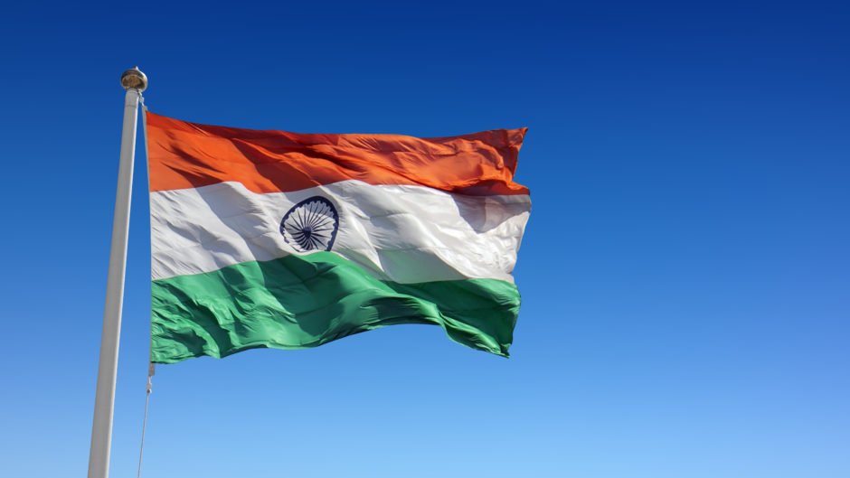 India's flag flutters in the wind.