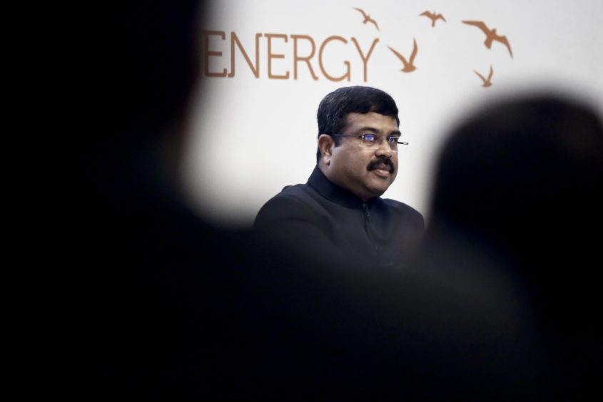 Dharmendra Pradhan, India's petroleum minister, looks on during the 22nd World Petroleum Congress in Istanbul, Turkey, on Tuesday, July 11, 2017. Photographer: Kostas Tsironis/Bloomberg