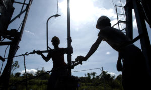 Oil workers in Indonesia