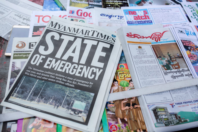 Myanmar Times newspaper with the headline 'State of Emergency' among other newspapers for sale are seen on display a day after the Myanmar's military detained the country's de facto leader Aung San Suu Kyi and the country's president in a coup. Daily life in Yangon, Burma - 01 Feb 2021